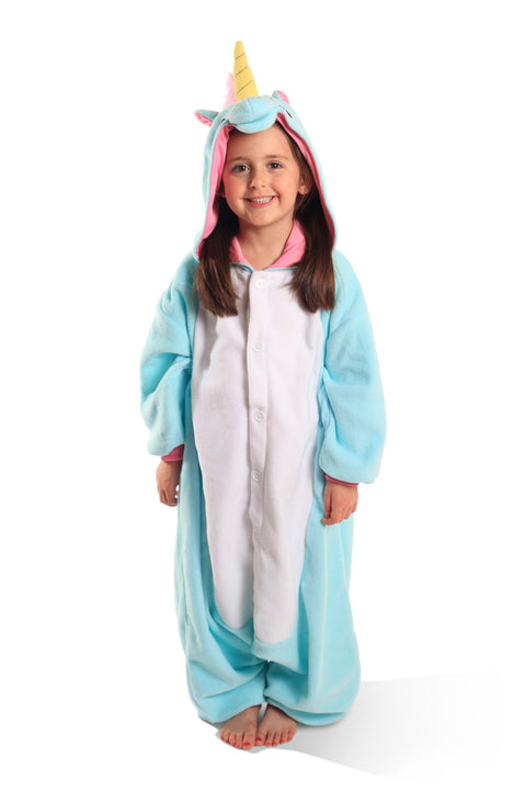 Kids Blue Unicorn Kigurumi Onesie Costume Pajamas