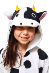 Kids Cow Animal Kigurumi Onesie Costume Pajamas Hood 130cm
