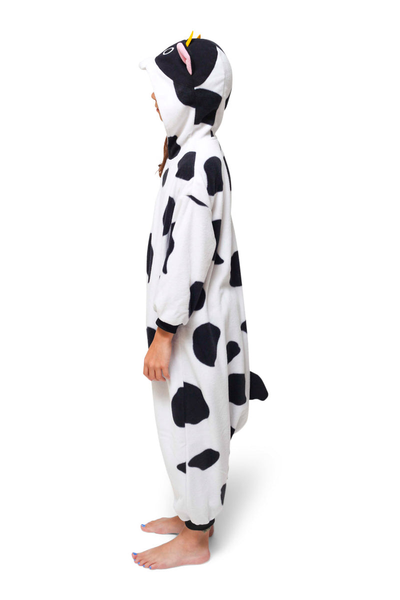 Kids Cow Animal Kigurumi Onesie Costume Pajamas Side 130cm