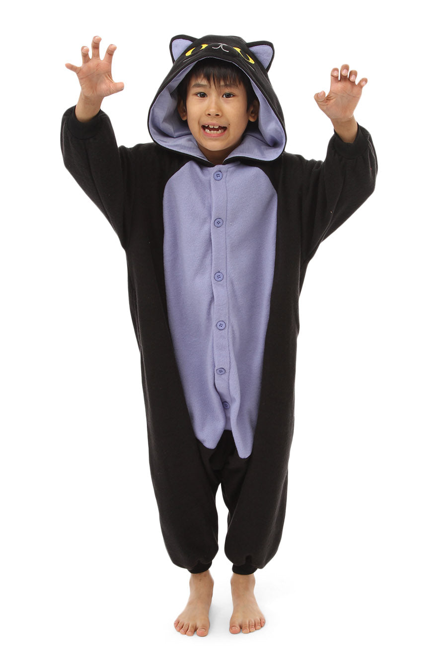 Kids Midnight Cat Animal Kigurumi Onesie Costume Pajamas Main 130cm