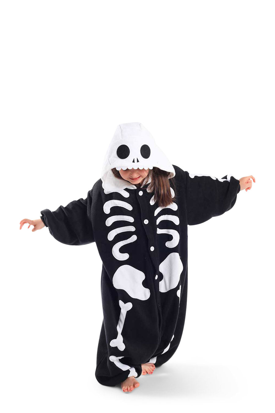 Kids Skeleton Animal Kigurumi Onesie Costume Pajamas Black White Main Seconary 130cm