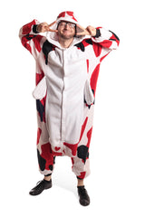 Koi Fish Animal Kigurumi Adult Onesie Costume Pajamas White Red Black Front Main Seconary