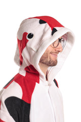 Koi Fish Animal Kigurumi Adult Onesie Costume Pajamas White Red Black Hood