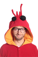 Lobster Animal Kigurumi Adult Onesie Costume Pajamas Red Front Hood
