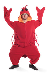 Lobster Animal Kigurumi Adult Onesie Costume Pajamas Red Front Main Quaternary