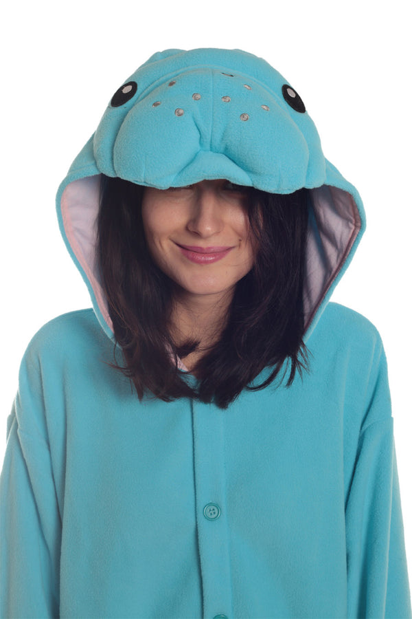 Manatee Animal Kigurumi Adult Onesie Costume Pajamas Blue Hood