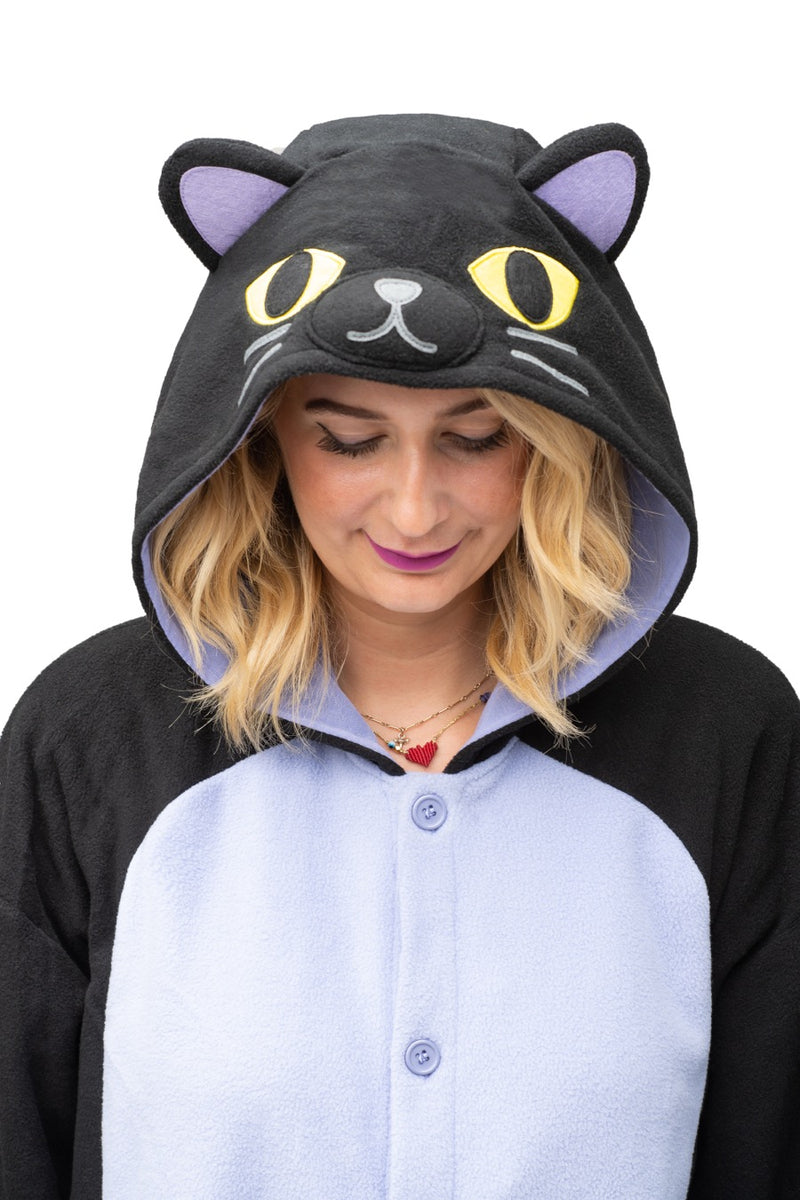 Midnight Cat X-Tall Animal Kigurumi Adult Onesie Costume Pajamas Hood