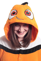 Nemo Character Kigurumi Adult Onesie Costume Pajamas Fish Orange Hood