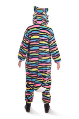 Neon Rainbow Kitty Animal Kigurumi Adult Onesie Costume Pajamas Back