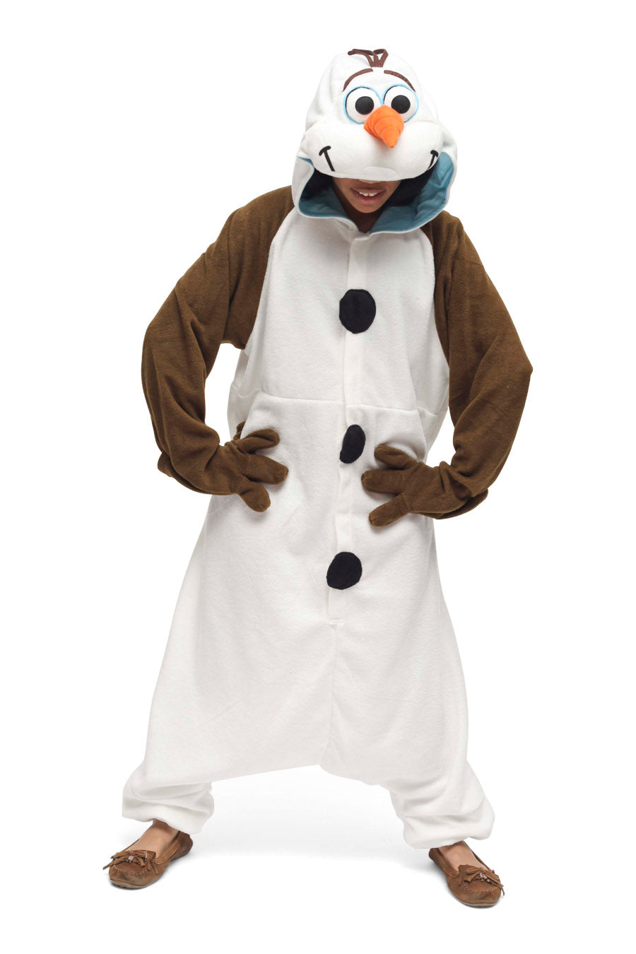 Olaf Character Kigurumi Adult Onesie Costume Pajamas Frozen White Snowman Front Main