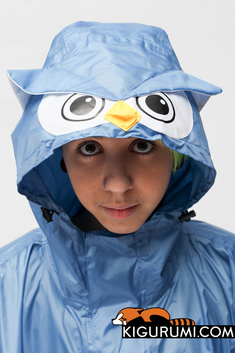 Owl Kigurumi Poncho Raincoat Adult One Size