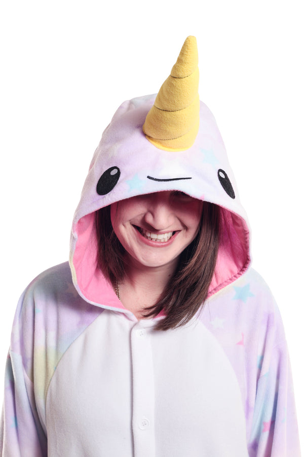 Pastel Dream Narwhal Animal Kigurumi Adult Onesie Costume Pajamas Stars Hood