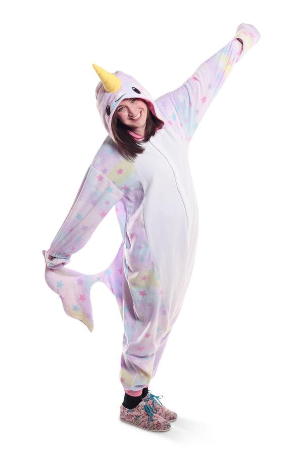 Pastel Dream Narwhal Animal Kigurumi Adult Onesie Costume Pajamas Stars Main