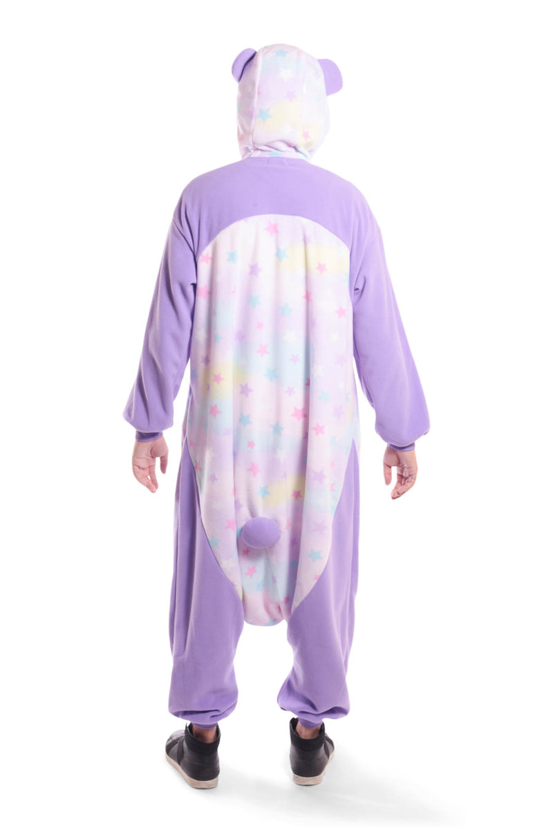 Pastel Dream Panda X-Tall Animal Kigurumi Adult Onesie Costume Pajamas Purple Stars Back