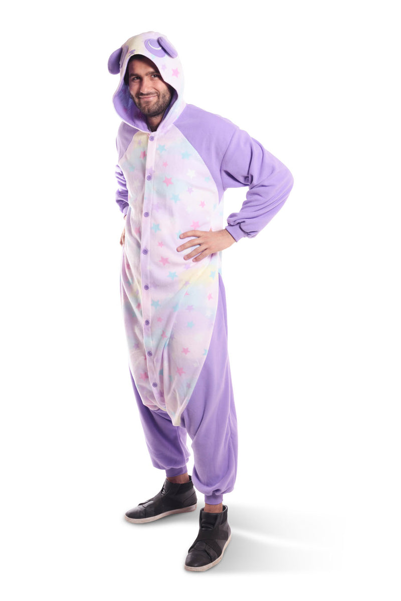 Pastel Dream Panda X-Tall Animal Kigurumi Adult Onesie Costume Pajamas Purple Stars Front Hands On Hips Main