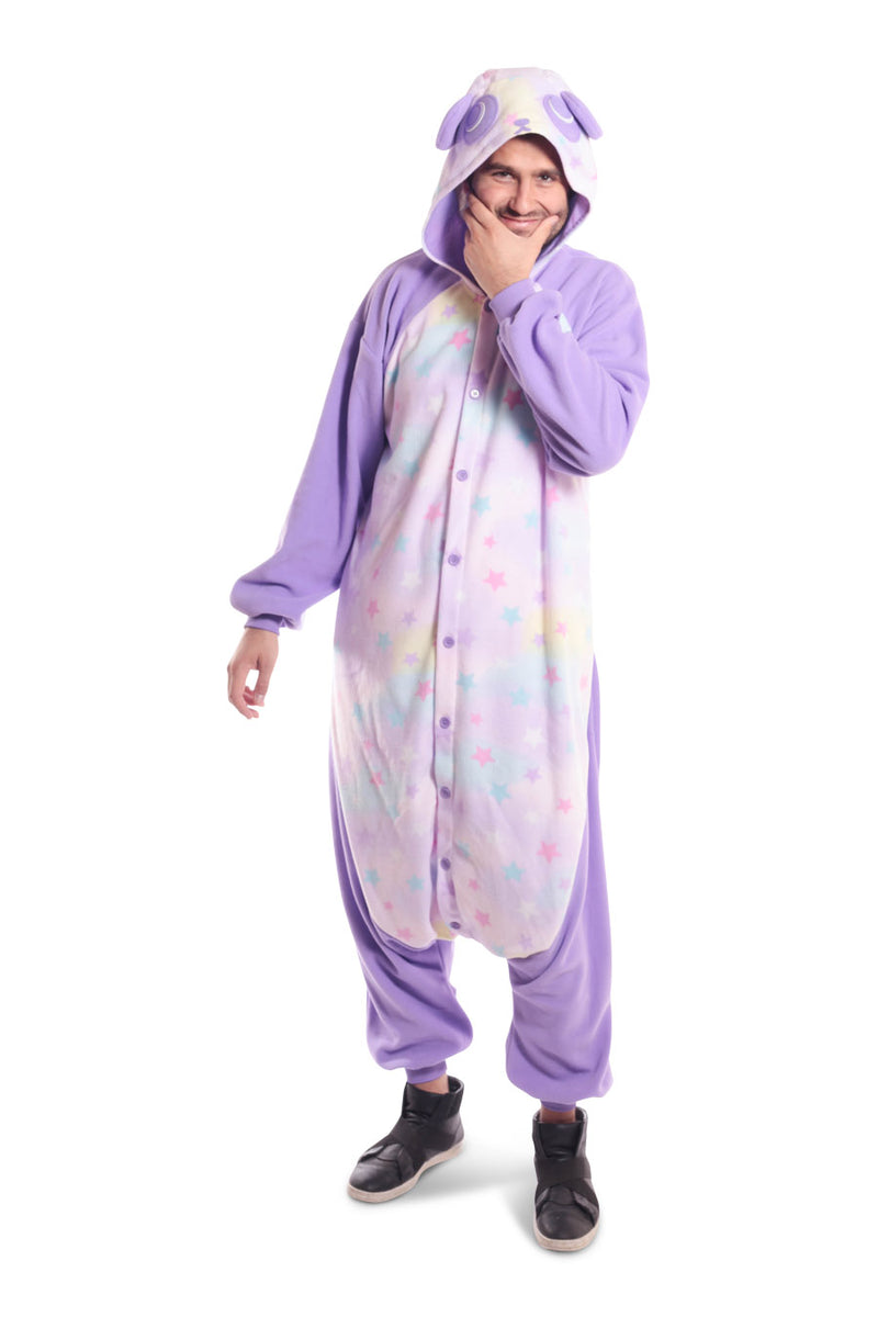 Pastel Dream Panda X-Tall Animal Kigurumi Adult Onesie Costume Pajamas Purple Stars Front Holding Face Main Seconary