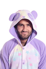 Pastel Dream Panda X-Tall Animal Kigurumi Adult Onesie Costume Pajamas Purple Stars Front Hood