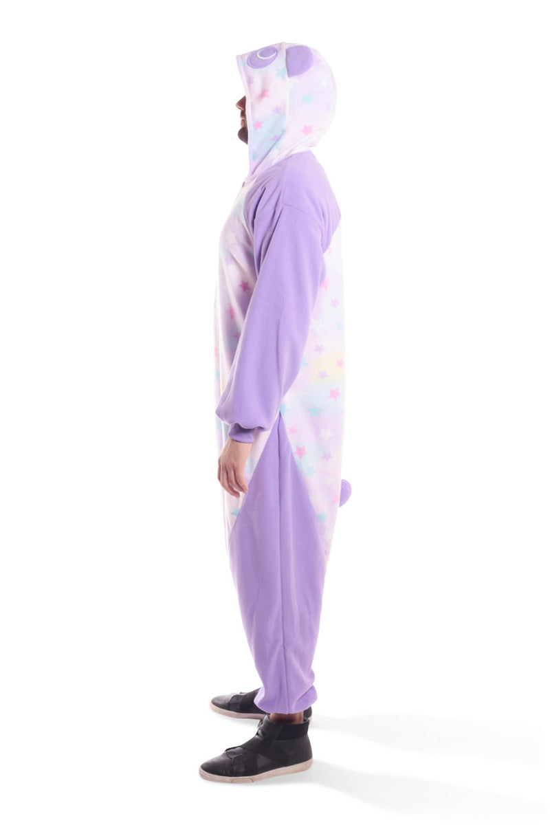 Pastel Dream Panda X-Tall Animal Kigurumi Adult Onesie Costume Pajamas Purple Stars Side