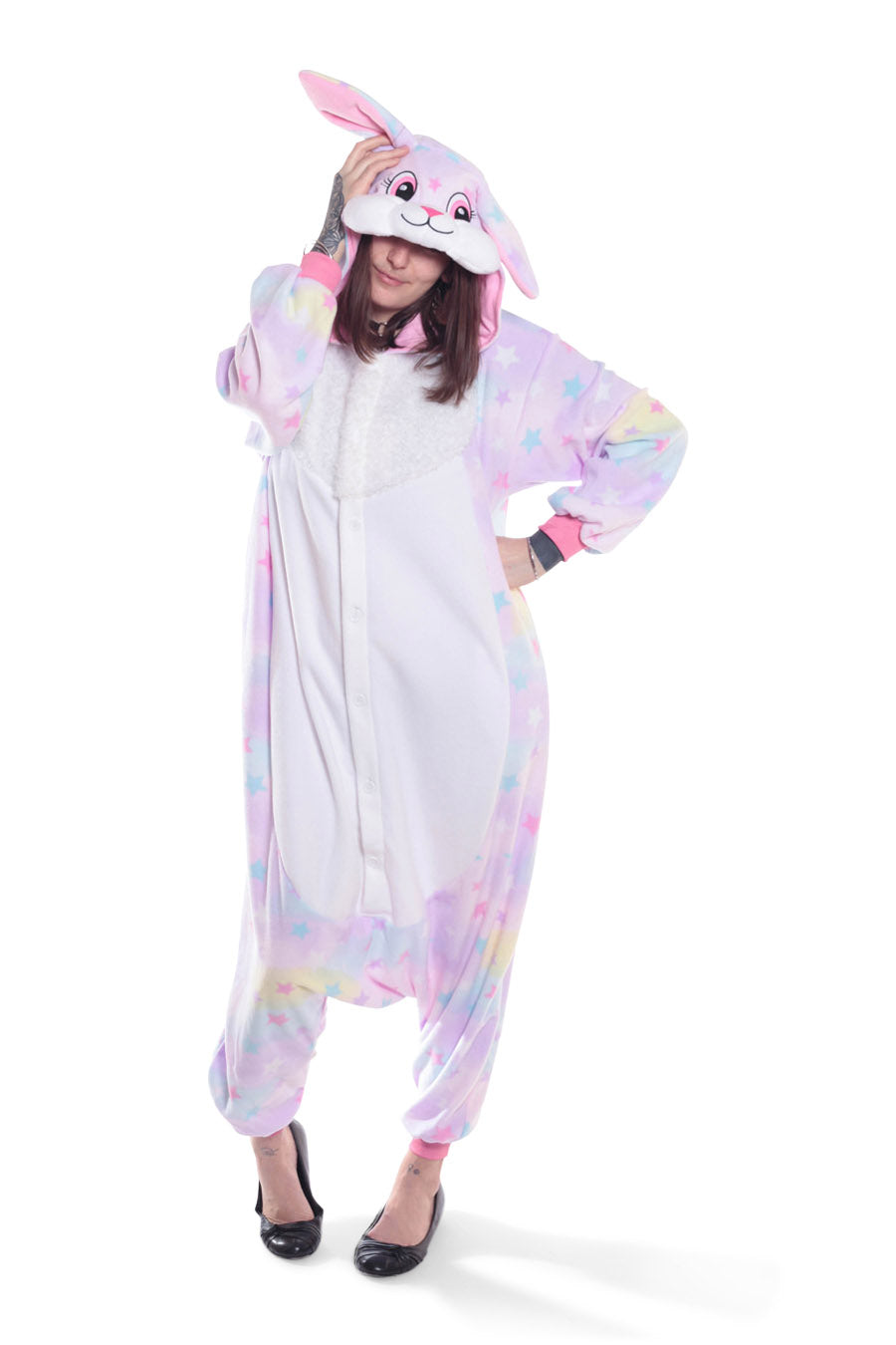 Pastel Dream Rabbit Kigurumi Adult Onesie Costume Pajamas Animal Stars Front Main