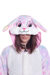 Pastel Dream Rabbit X-Tall Kigurumi Adult Onesie Costume Pajamas Animal Stars Hood Duplicate