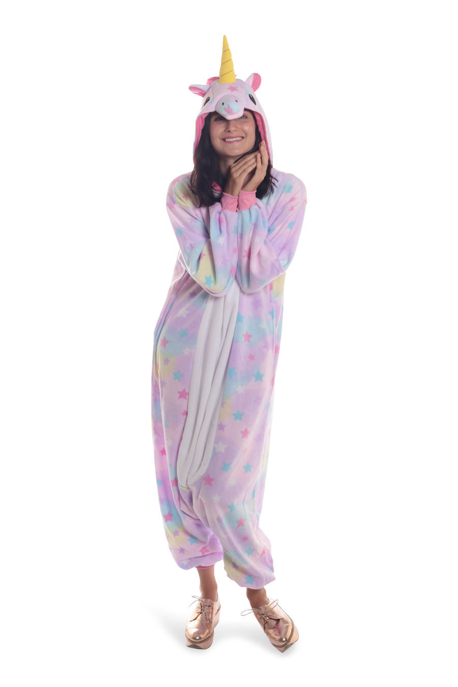 Pastel Dream Unicorn Animal Kigurumi Adult Onesie Costume Pajamas Stars Front Main