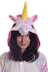 Pastel Dream Unicorn Animal Kigurumi Adult Onesie Costume Pajamas Stars Hood