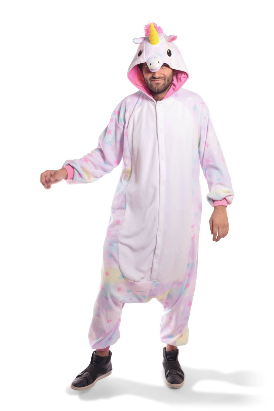 Pastel Dream Unicorn X-Tall Animal Kigurumi Adult Onesie Costume Pajamas Purple Stars Front Main