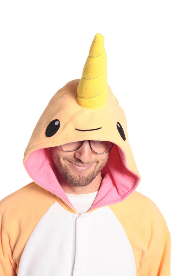 Peach Narwhal Animal Kigurumi Adult Onesie Costume Pajamas Orange Hood