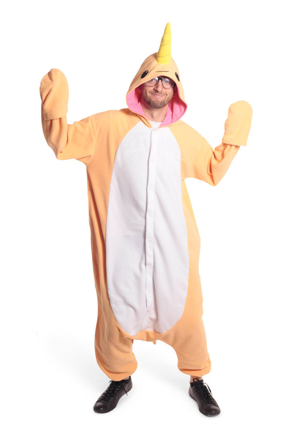 Peach Narwhal Animal Kigurumi Adult Onesie Costume Pajamas Orange Main