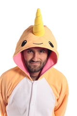 Peach Narwhal X-Tall Animal Kigurumi Adult Onesie Costume Pajamas Orange Hood Front