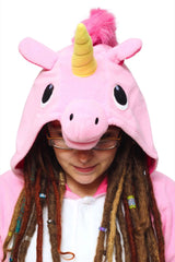 Pink Unicorn Animal Kigurumi Adult Onesie Costume Pajamas Hood