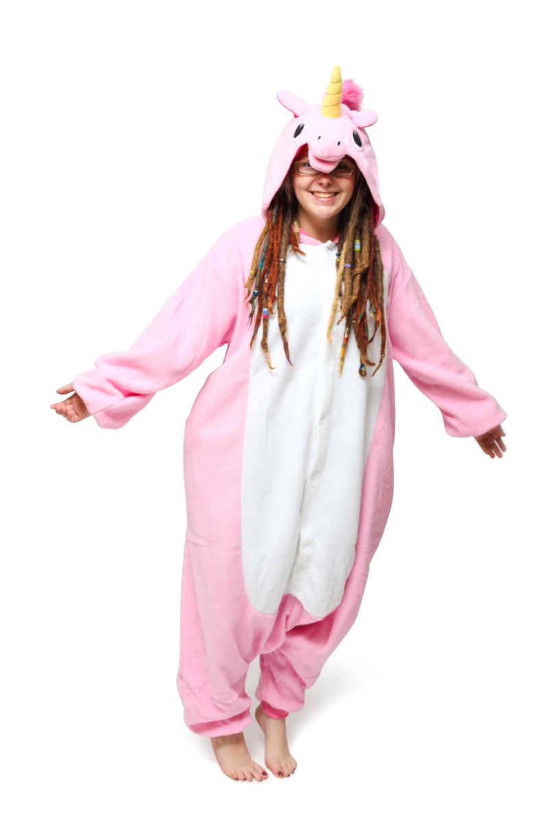 Pink Unicorn Animal Kigurumi Adult Onesie Costume Pajamas Main Seconary