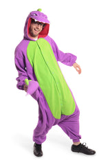 Purple Dinosaur Animal Kigurumi Adult Onesie Costume Pajamas Green Violet Front Main Tertiary