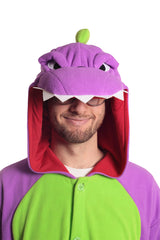 Purple Dinosaur Animal Kigurumi Adult Onesie Costume Pajamas Green Violet Hood