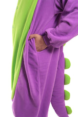 Purple Dinosaur X-Tall Animal Kigurumi Adult Onesie Costume Pajamas Green Pockets Detail