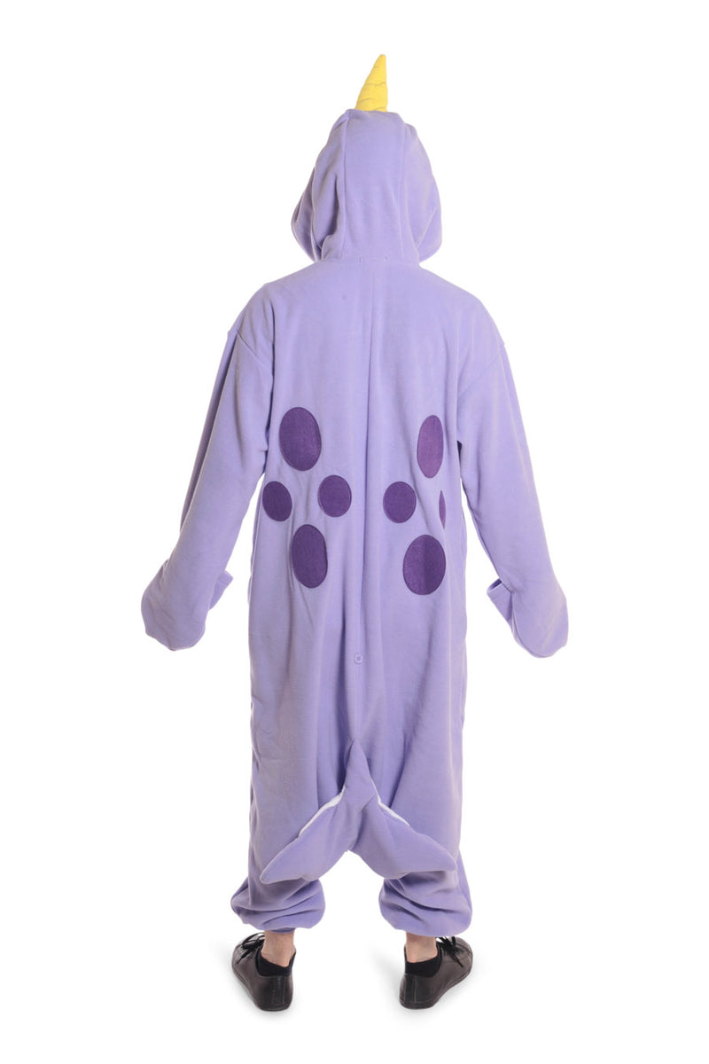 Purple Narwhal Animal Kigurumi Adult Onesie Costume Pajamas Violet Back