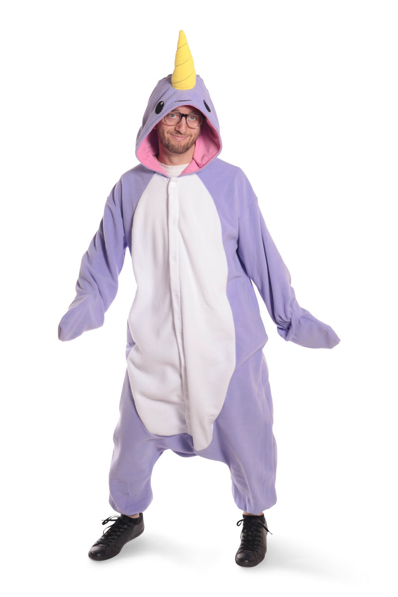 Purple Narwhal Animal Kigurumi Adult Onesie Costume Pajamas Violet Front Main Seconary