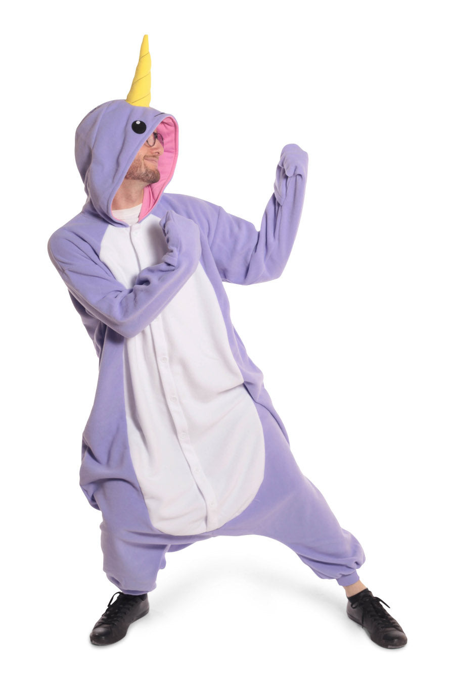 Purple Narwhal Animal Kigurumi Adult Onesie Costume Pajamas Violet Front Main