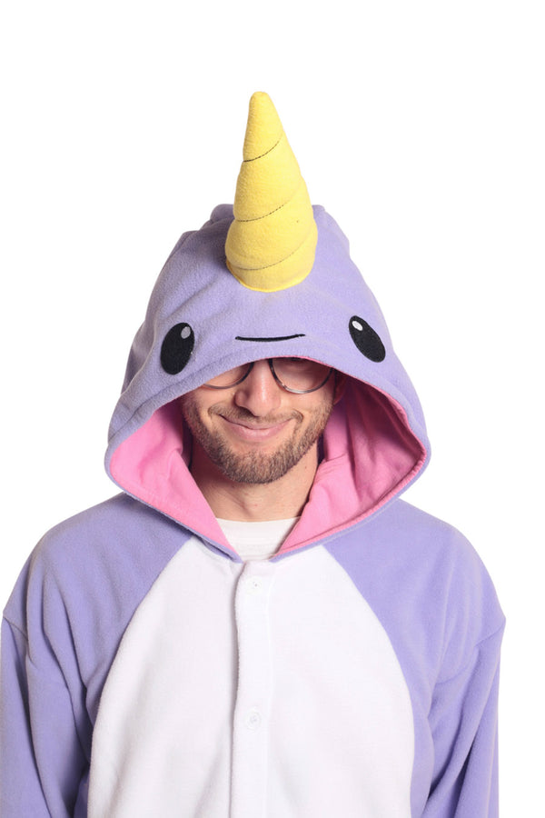 Purple Narwhal Animal Kigurumi Adult Onesie Costume Pajamas Violet Hood Front