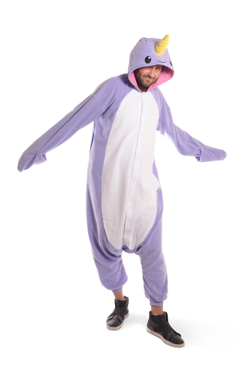 Purple Narwhal X-Tall Animal Kigurumi Adult Onesie Costume Pajamas Violet Front Dance Main Seconary