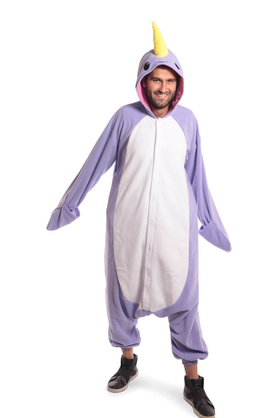 Purple Narwhal X-Tall Animal Kigurumi Adult Onesie Costume Pajamas Violet Front Hands Main