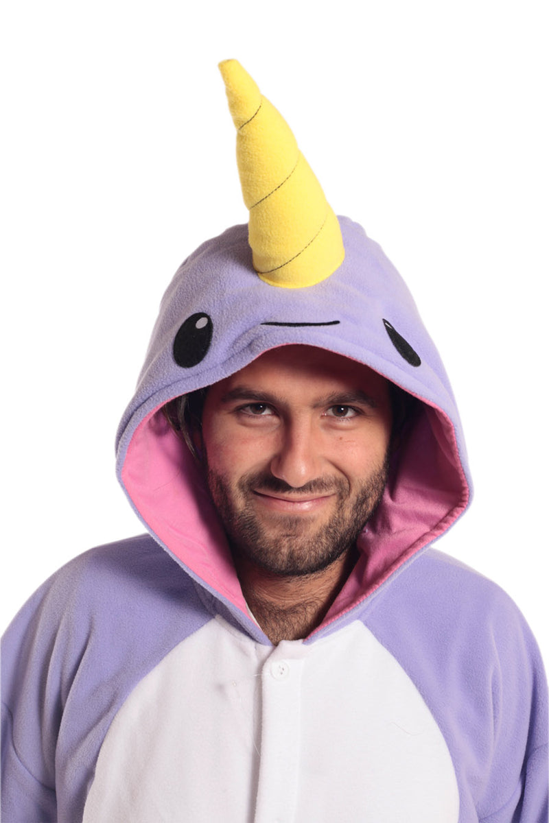 Purple Narwhal X-Tall Animal Kigurumi Adult Onesie Costume Pajamas Violet Hood Front