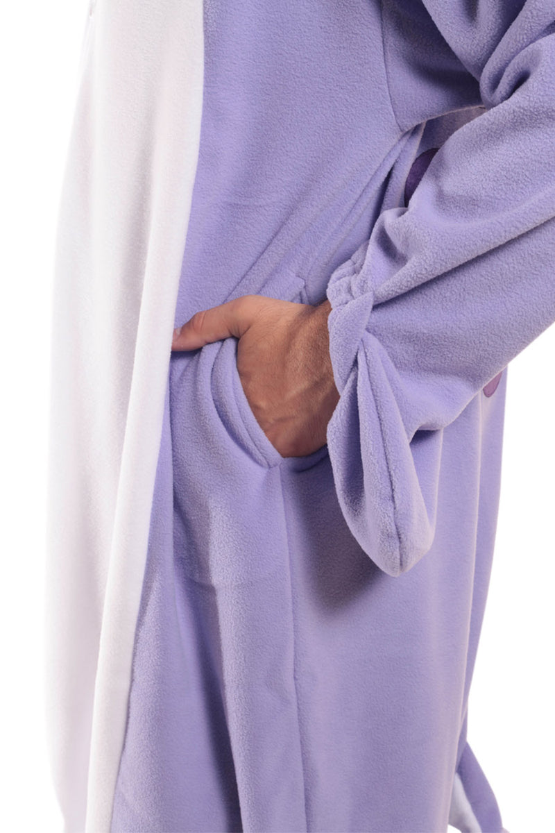 Purple Narwhal X-Tall Animal Kigurumi Adult Onesie Costume Pajamas Violet Pockets