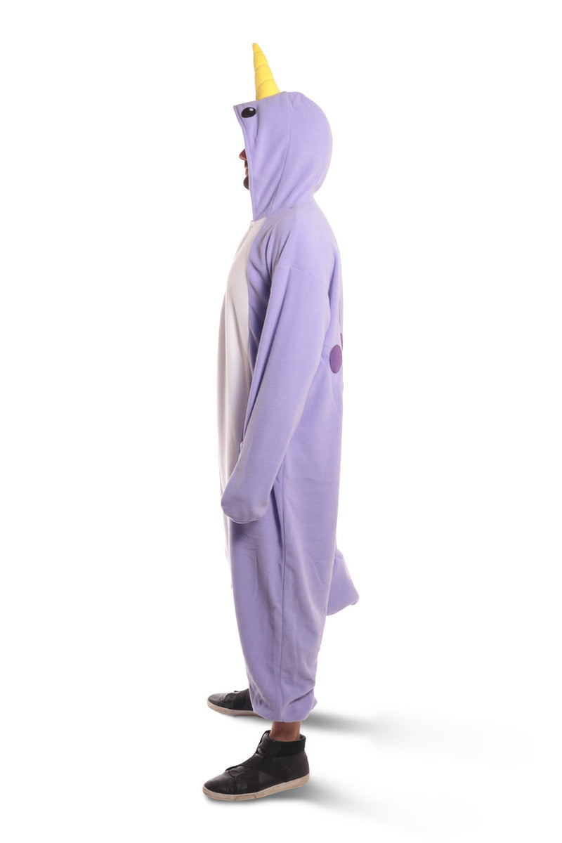 Purple Narwhal X-Tall Animal Kigurumi Adult Onesie Costume Pajamas Violet Side