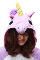 Purple Unicorn Animal Kigurumi Adult Onesie Costume Pajamas Hood