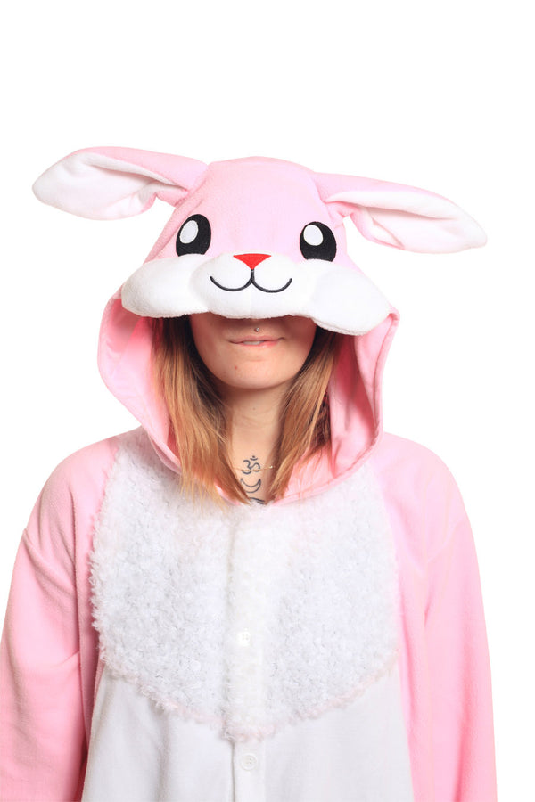 Rabbit Animal Kigurumi Adult Onesie Costume Pajamas Pink Hood