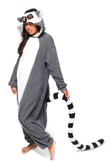 Ring-Tailed Lemur Animal Kigurumi Adult Onesie Costume Pajamas Black Front Main Seconary