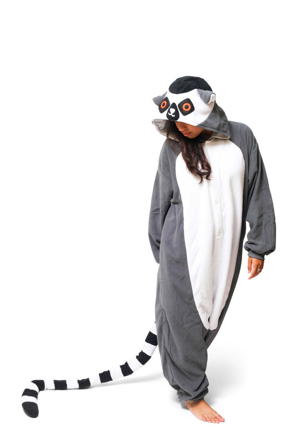 Ring-Tailed Lemur Animal Kigurumi Adult Onesie Costume Pajamas Black Front Main