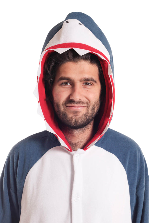 Shark X-Tall Animal Kigurumi Adult Onesie Costume Pajamas Blue Navy Front Hood