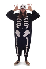 Skeleton X-Tall Animal Kigurumi Adult Onesie Costume Pajamas Black Front Main